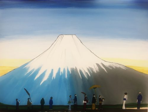 Image created by ArtAccess Open Studios Participant, image of Mt. Fuji, white mountain with blue sky `